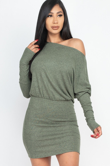 Dolman Sleeve Brushed Knit Off the Shoulder Mini Dress