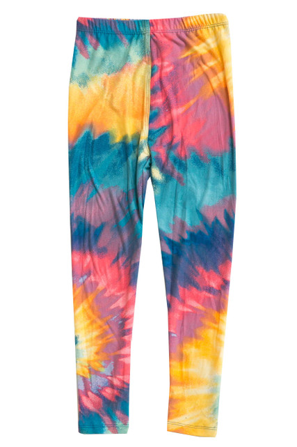 Buttery Soft Multi-Color-Bold Tie Dye Kids Leggings