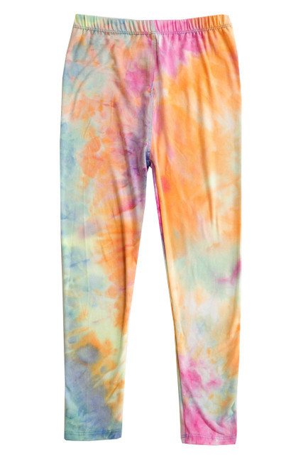 Buttery Soft Multi-Color Pastel Tie Dye Kids Leggings
