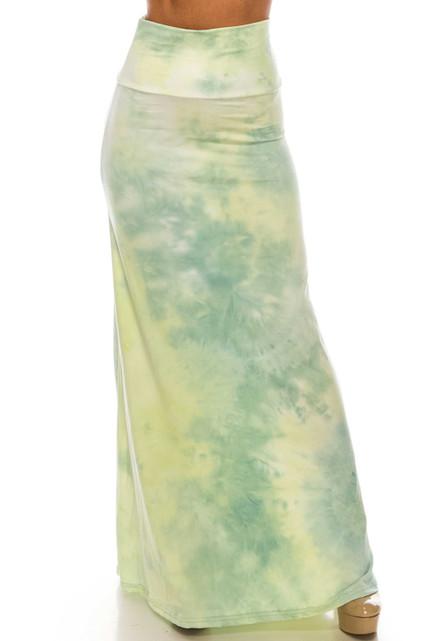 Buttery Soft Mint Tie Dye Maxi Skirt
