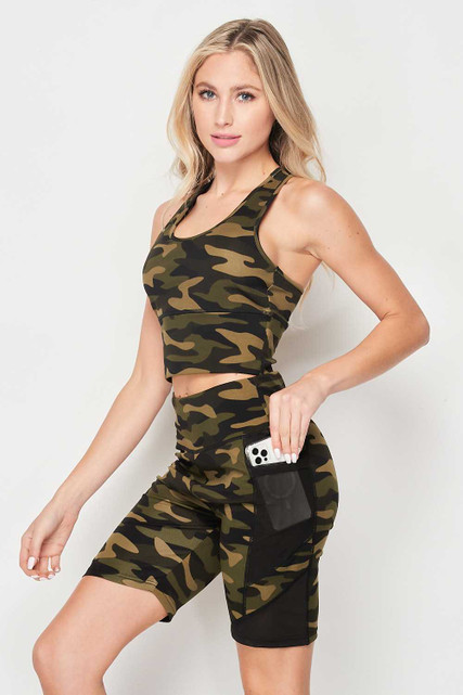 High Waisted Camouflage Mesh Pocket Biker Shorts and Crop Top Workout Set