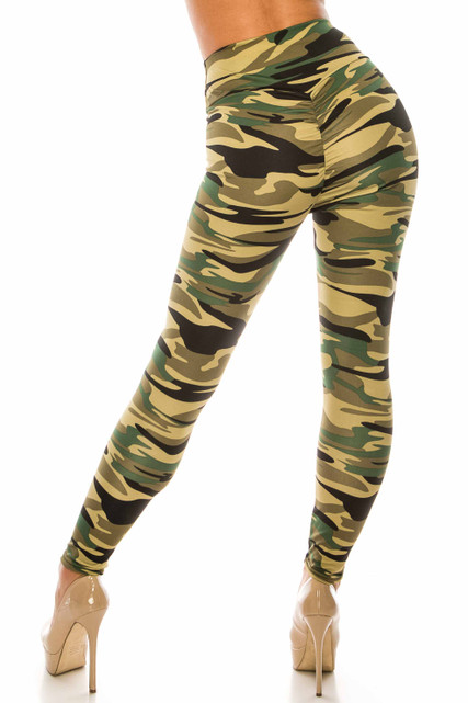 Green Camouflage Scrunch Butt Sport Leggings