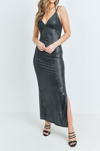 Black Metallic Side Slit Halter V Neck Bodycon Maxi Dress