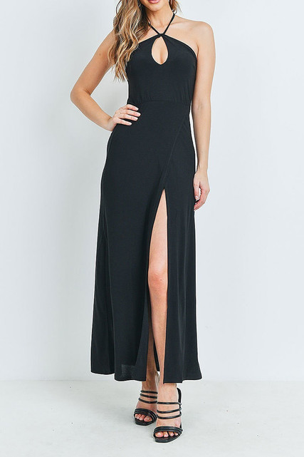 Black Front Slit Keyhole Halter Neck Maxi Dress