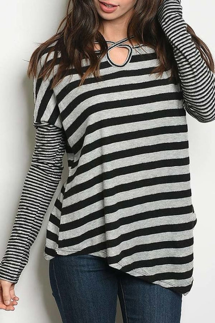 Grey/Black Crisscross Keyhole Mixed Stripe Asymmetrical Hem Long Sleeve Top