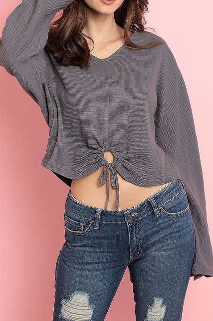 Charcoal Cropped Waist Tie Hem Long Sleeve Cotton V-Neck Top