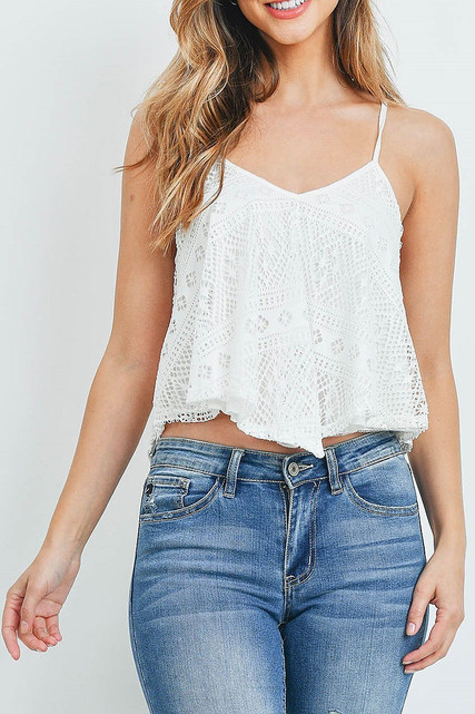 White Crochet Lace V-Neck Spaghetti Strap Crop Top