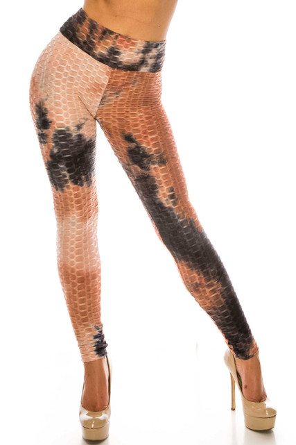 Mocha and Black Tie Dye Scrunch Butt Sport Leggings