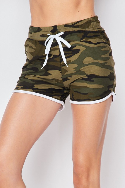 Buttery Soft Green Camouflage Drawstring Waist Dolphin Shorts with Pockets