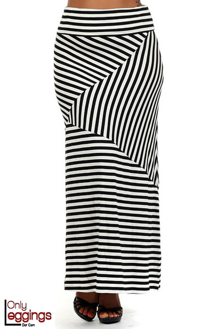Asymmetrical Rayon Thin Stripe Maxi Skirt