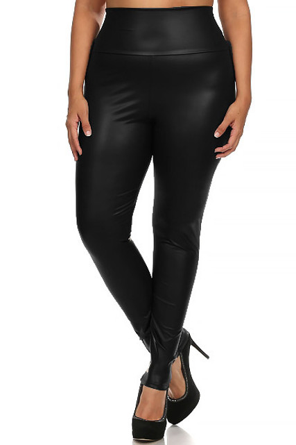 Black Matte High Waisted Black Faux Leather Plus Size Leggings