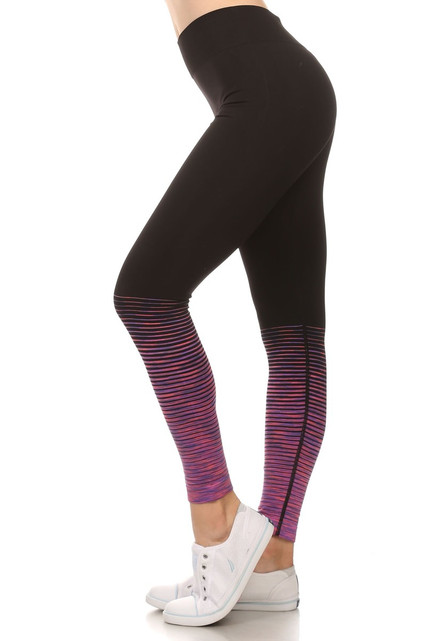 Purple Tornado Color Fade Workout Leggings
