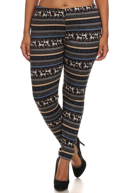 Elegant Reindeer Fur Lined Leggings - Plus Size