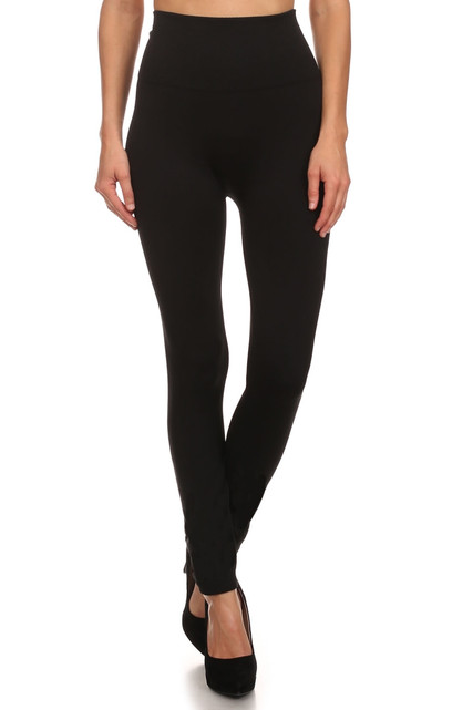Black Banded High Waisted Fleece Lined Leggings