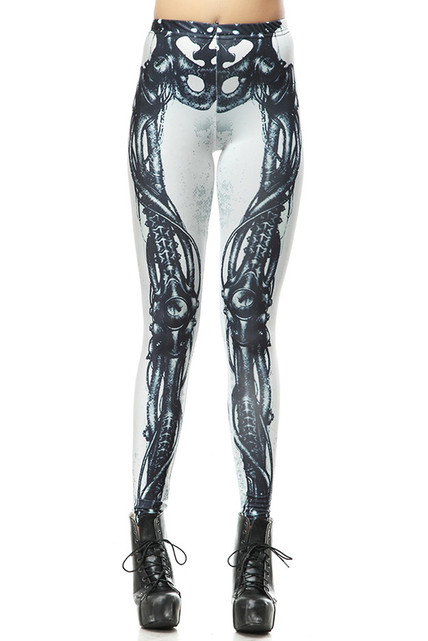 White Steampunk Skeleton Leggings