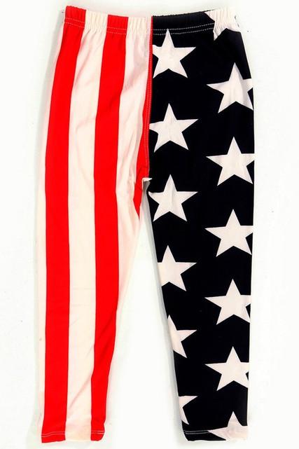 Split USA Flag Kids Leggings