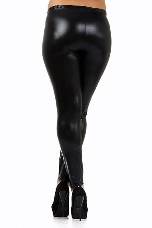 0904dcae0c9 Shiny Black Faux Leather Plus Size Leggings