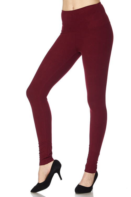 0d66b7ae3 Brushed High Waisted Plus Size Basic Solid Leggings - 5 Inch Band ...