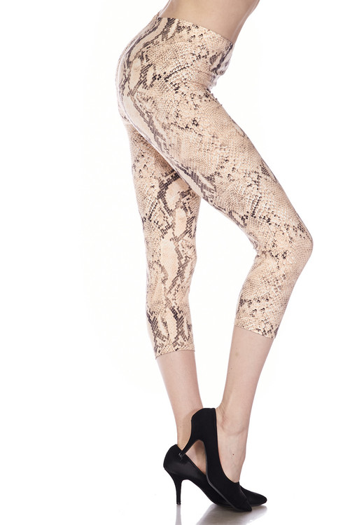 32b77afc0ff42a Brushed Cream Snakeskin Plus Size Capris | Only Leggings