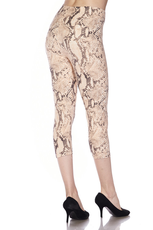 757df7b464bb0e Brushed Cream Snakeskin Plus Size Capris | Only Leggings