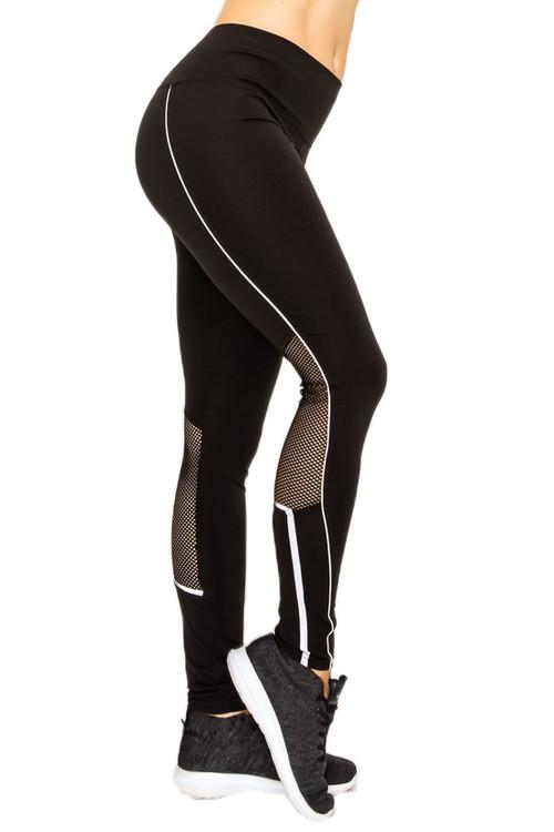 067fc21b27 Contour Piping Mesh Sport Workout Leggings | Only Leggings