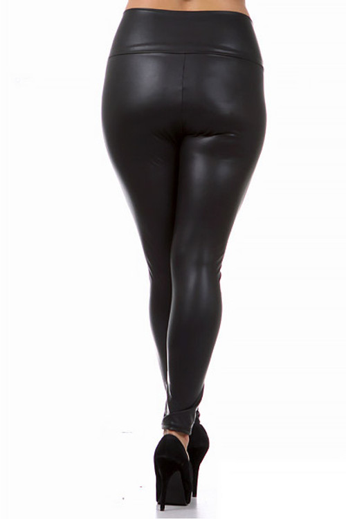 702eb1fd7be Matte High Waisted Faux Leather Plus Size Leggings