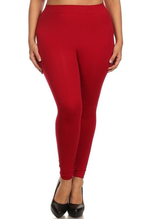 5c0c5d2bb41 Red Full Length Nylon Spandex Leggings - Plus Size