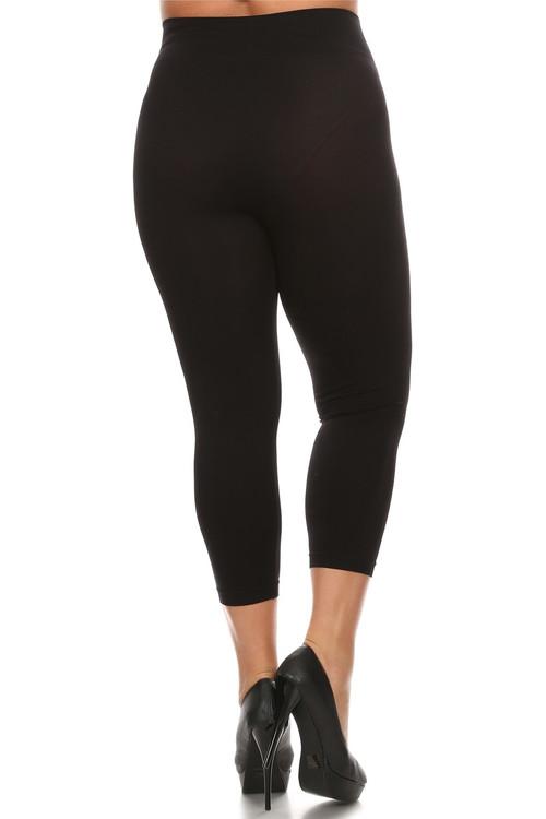 3f89ec3657f Black Basic Spandex Capri Plus Size Leggings