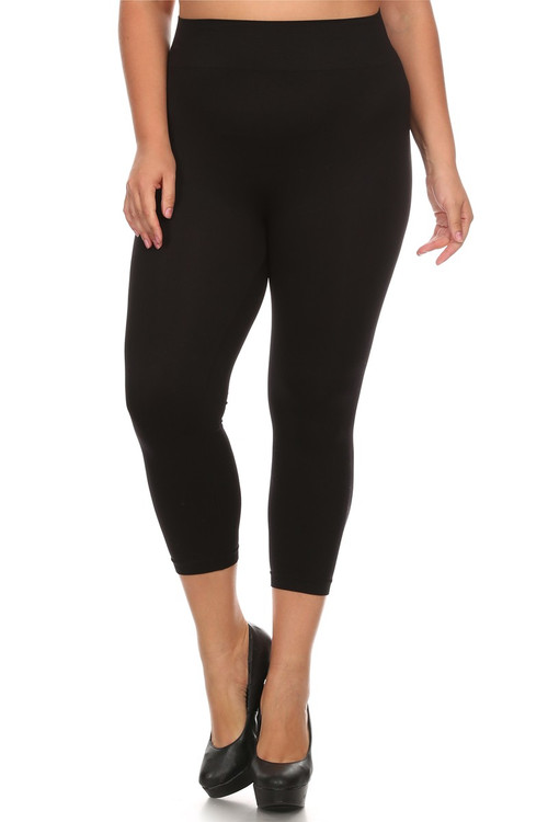 da8936ceb64b9 Basic Spandex Capri Leggings - Plus Size | Only Leggings
