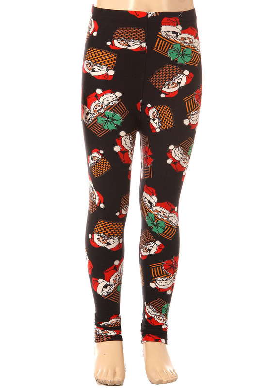Brushed Christmas Kitty Cats Kids Leggings