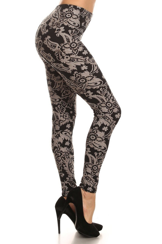 Brushed Champagne Paisley Leggings