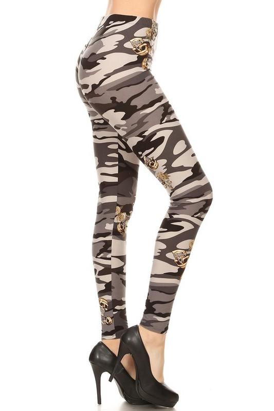 Brushed Charcoal Skull Camouflage Leggings