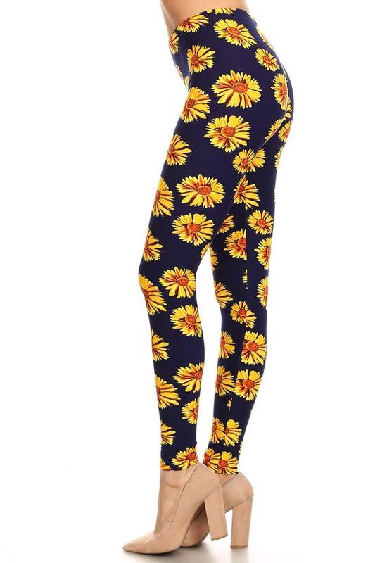 Brushed Summer Daisy Plus Size Leggings