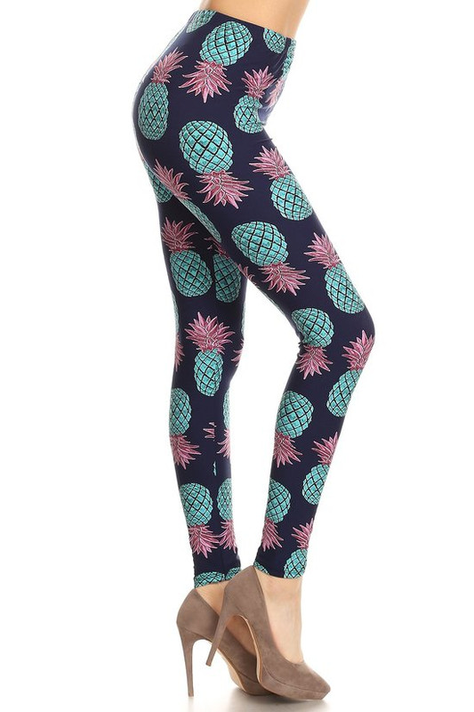 Brushed Teal Pineapple Plus Size Leggings - EEVEE