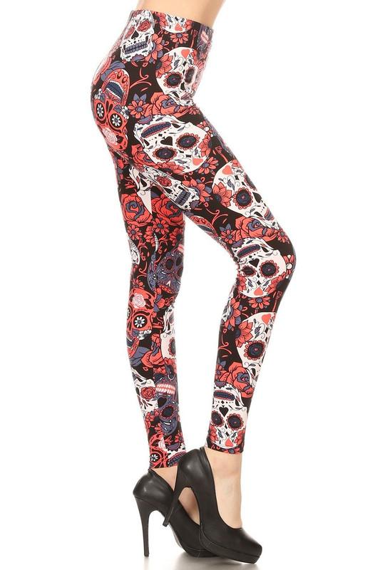 Brushed Crimson Sugar Skull Plus Size Leggings