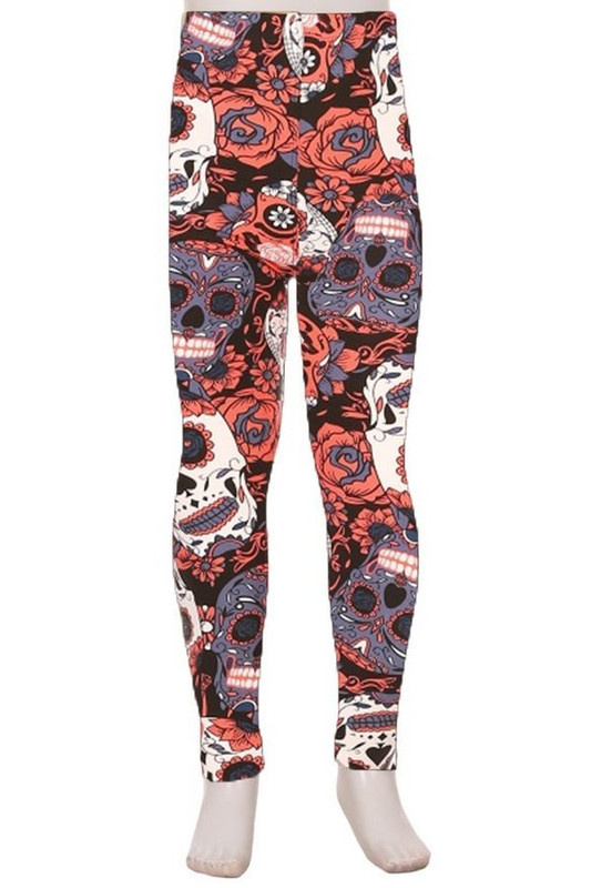 Brushed Crimson Sugar Skull Kids Leggings
