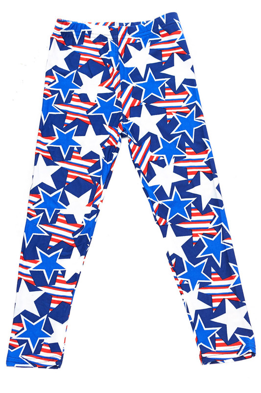 Soft Brushed American Stars Kids Leggings