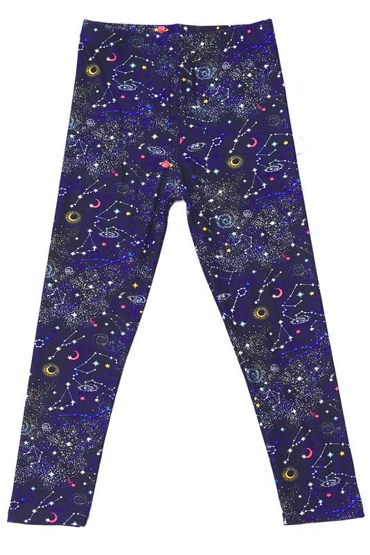 Soft Brushed Space Constellation Kids Leggings
