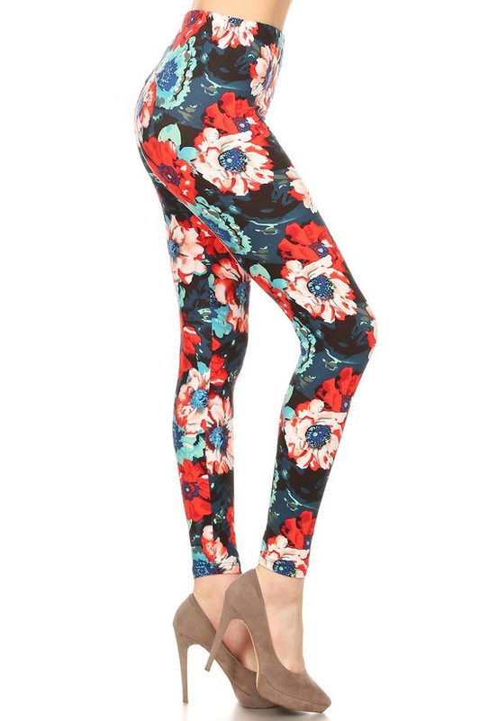 Soft Brushed Painted Floral Extra Plus Size Leggings - 3X-5X