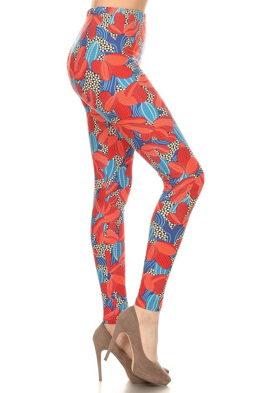 Soft Brushed Red and Blue Cactus Plus Size Leggings
