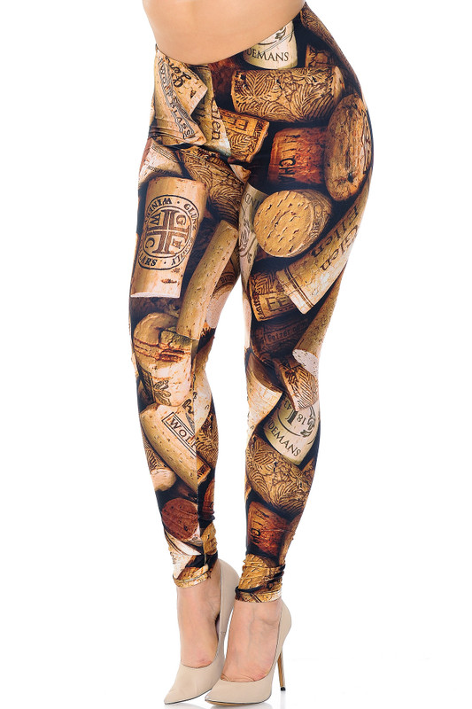 Creamy Soft Wine Cork Extra Plus Size Leggings - 3X-5 - USA Fashion™