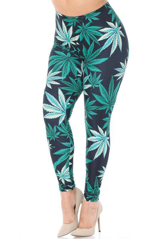 Creamy Soft Black Weed Extra Plus Size Leggings - 3X-5X - USA Fashion™