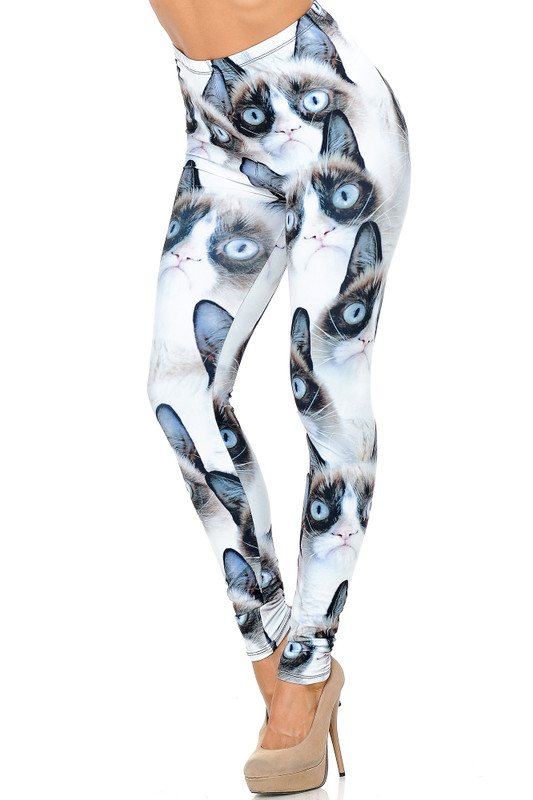 Creamy Soft Grumpy Cat Extra Plus Size Leggings - 3X-5X - USA Fashion™