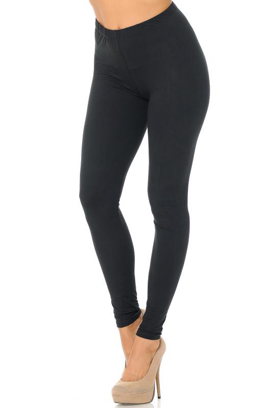 Black Brushed Basic Solid Leggings - EEVEE