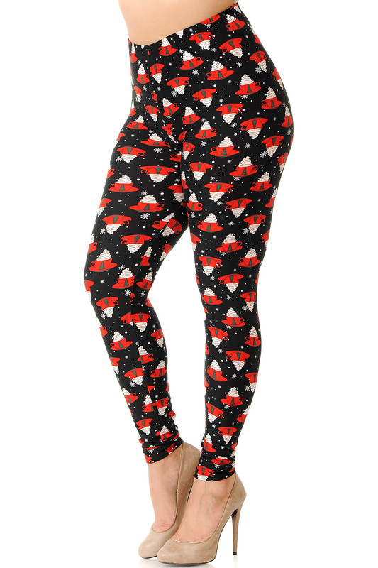 Brushed Mocha Cappuccino Christmas Coffee Plus Size Leggings