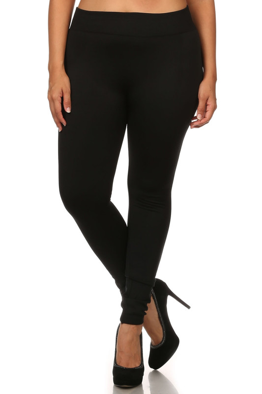 Front image of Premium Women's Fleece Lined Plus Size Leggingss