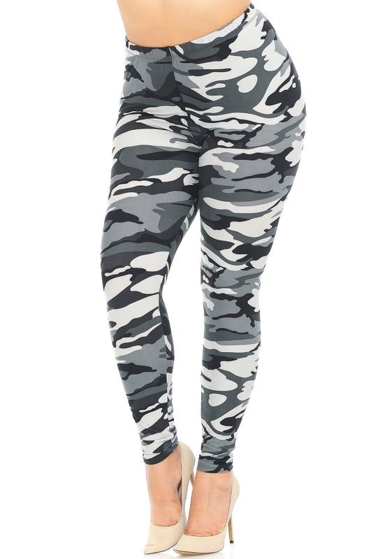 Brushed  Charcoal Camouflage Extra Plus Size Leggings - 3X-5X