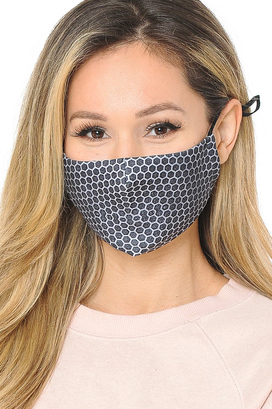 Honeycomb Mesh Graphic Print Face Mask