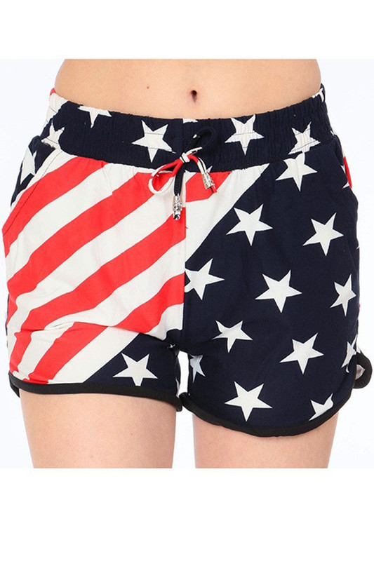 Buttery Soft Swirling USA Flag Dolphin Shorts
