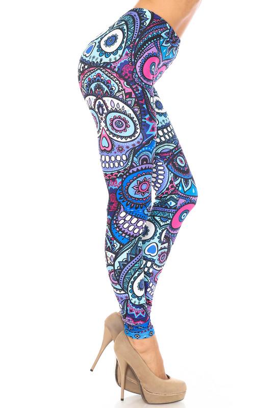 Creamy Soft Jumbo Purple Sugar Skulls Plus Size Leggings - By USA Fashion™